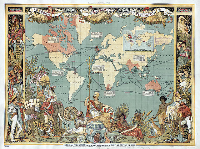A map depicting the British Empire (highlighted in red) in 1886. Map by Walter Crane.