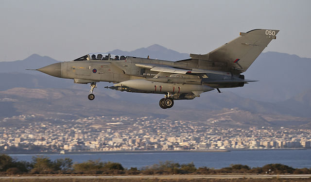 RAF Tornado GR4's on return to RAF Akrotiri Cyprus after an armed reconnaissance mission in support of OP SHADER, the UK operation in against ISIS in Iraq and Syria. Photo by Cpl Neil Bryden RAF / Open Government Licence v1.0