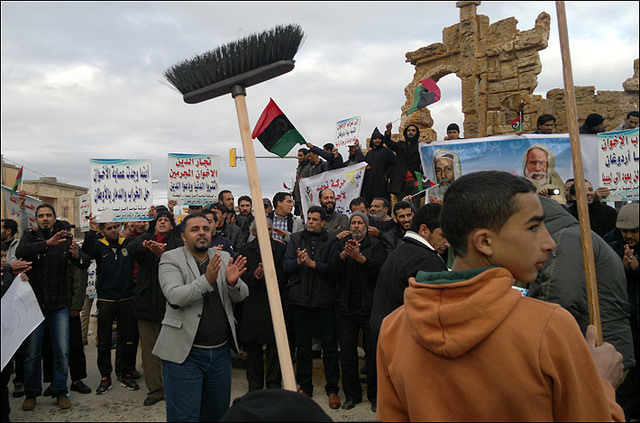 Libyan residents protest one of the NTC's successors, the General National Congress in 2014. Photo by Magherebia / CC BY 2.0