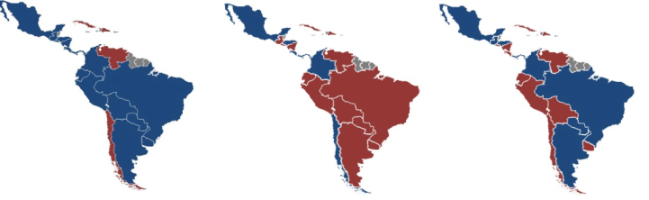 """The map simplifies """"left"""" and """"right"""" governments. Most were center-oriented regimes. Blue - governed by right-wing parties Red - governed by left-wing parties"""
