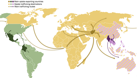 """Map created by Felipe Cruvinel. Sources: United Nations Office on Drugs and Crime, """"World Drug Report 2015"""" [online] Available at: https://www.unodc.org/documents/wdr2015/World_Drug_Report_2015.pdf (May 2015). United Nations Office on Drugs and Crime, """"Afghanistan Opium Survey 2015: Cultivation and Production"""" [online] Available at: https://www.unodc.org/documents/crop-monitoring/Afghanistan/_Afghan_opium_survey_2015_web.pdf (December 2015)"""